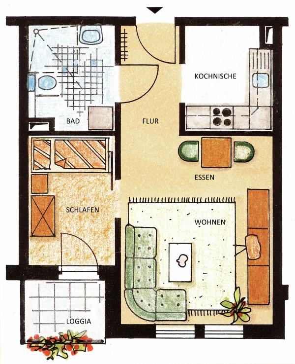 Seniorenwohnanlage Oschersleben - Beispielwohnung 1 - Wohnung für eine Person