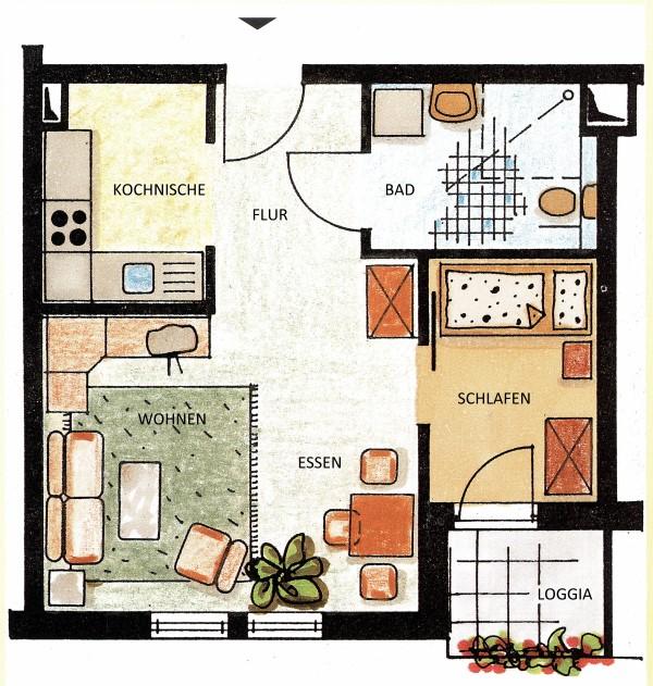 Seniorenwohnanlage Oschersleben - Beispielwohnung 2 - Wohnung für eine Person