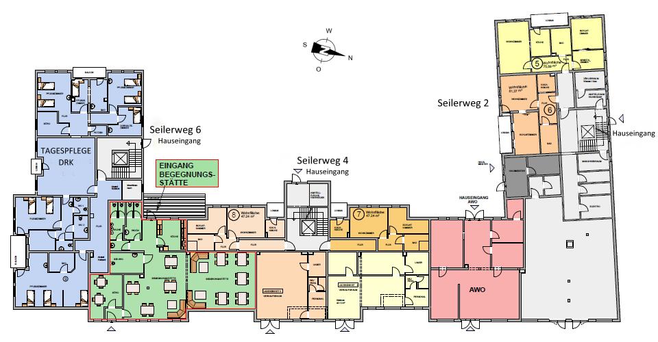 Seniorenwohnanlage Oschersleben - Grundriss Erdgeschoss mit Tagespflege DRK und Begegnungsstätte