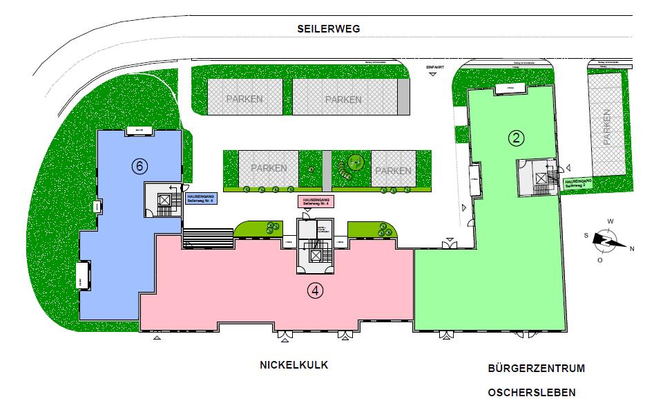Seniorenwohnanlage Oschersleben - Grundriss der Wohnanlage